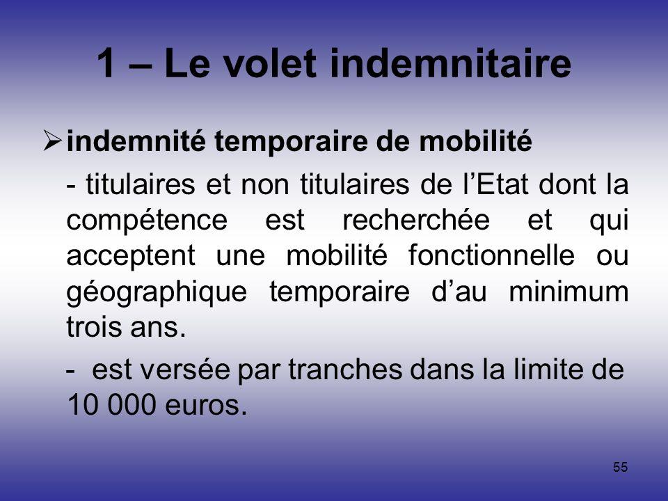 55 1 – Le volet indemnitaire indemnité temporaire de mobilité - titulaires et non titulaires de lEtat dont la compétence est recherchée et qui accepte