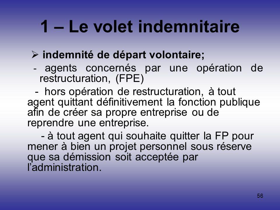 56 1 – Le volet indemnitaire indemnité de départ volontaire; - agents concernés par une opération de restructuration, (FPE) - hors opération de restru