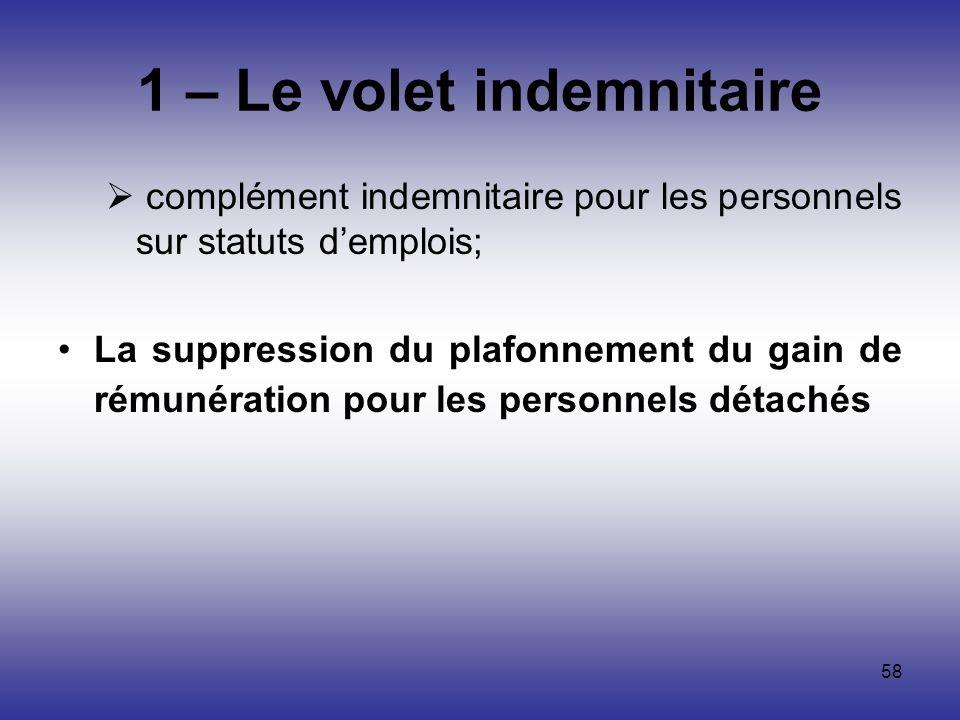 58 1 – Le volet indemnitaire complément indemnitaire pour les personnels sur statuts demplois; La suppression du plafonnement du gain de rémunération