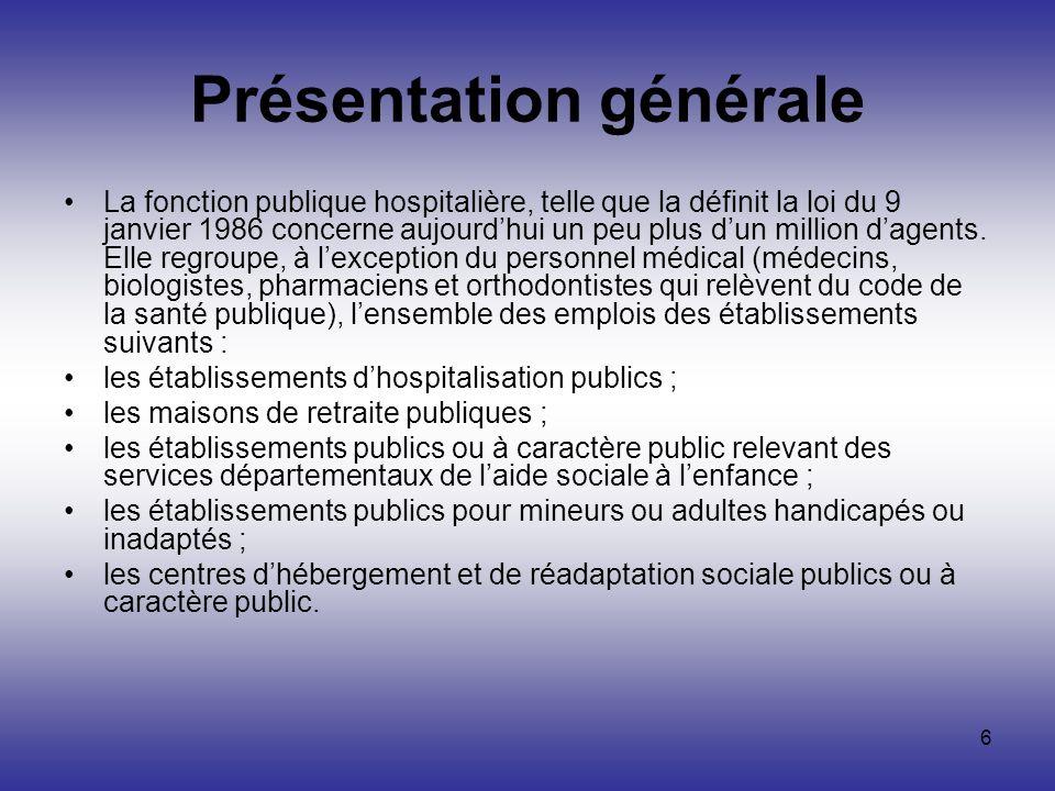 6 Présentation générale La fonction publique hospitalière, telle que la définit la loi du 9 janvier 1986 concerne aujourdhui un peu plus dun million d