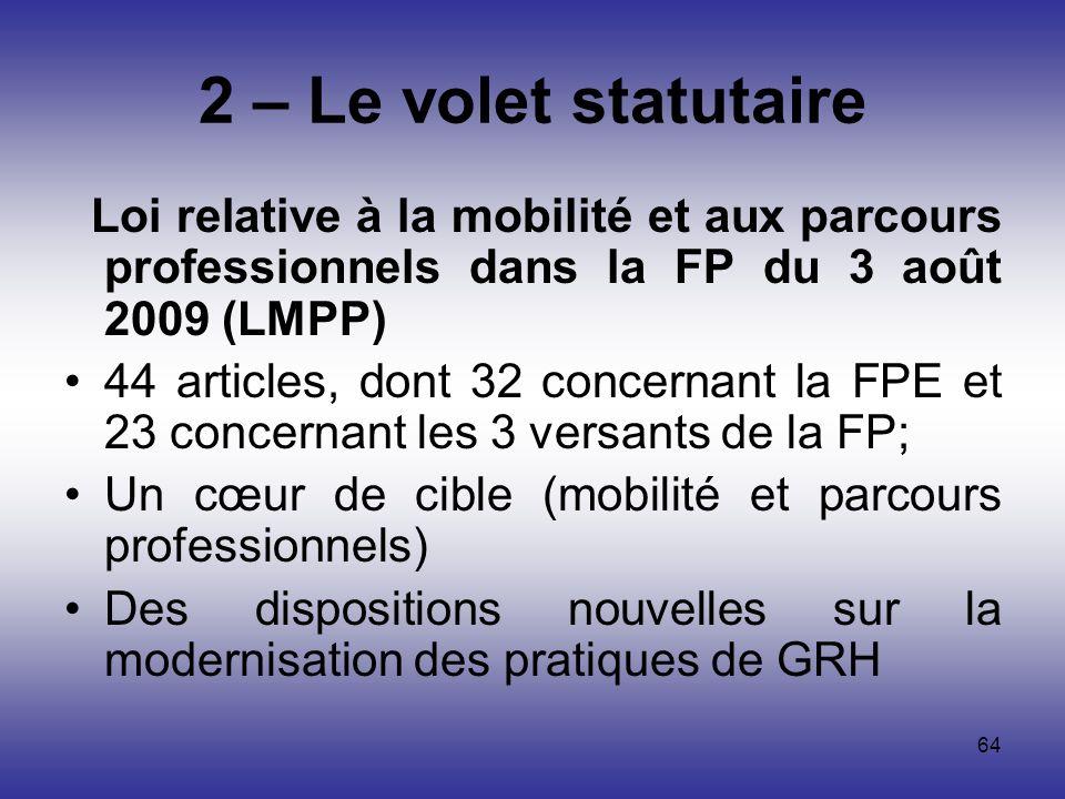 64 2 – Le volet statutaire Loi relative à la mobilité et aux parcours professionnels dans la FP du 3 août 2009 (LMPP) 44 articles, dont 32 concernant