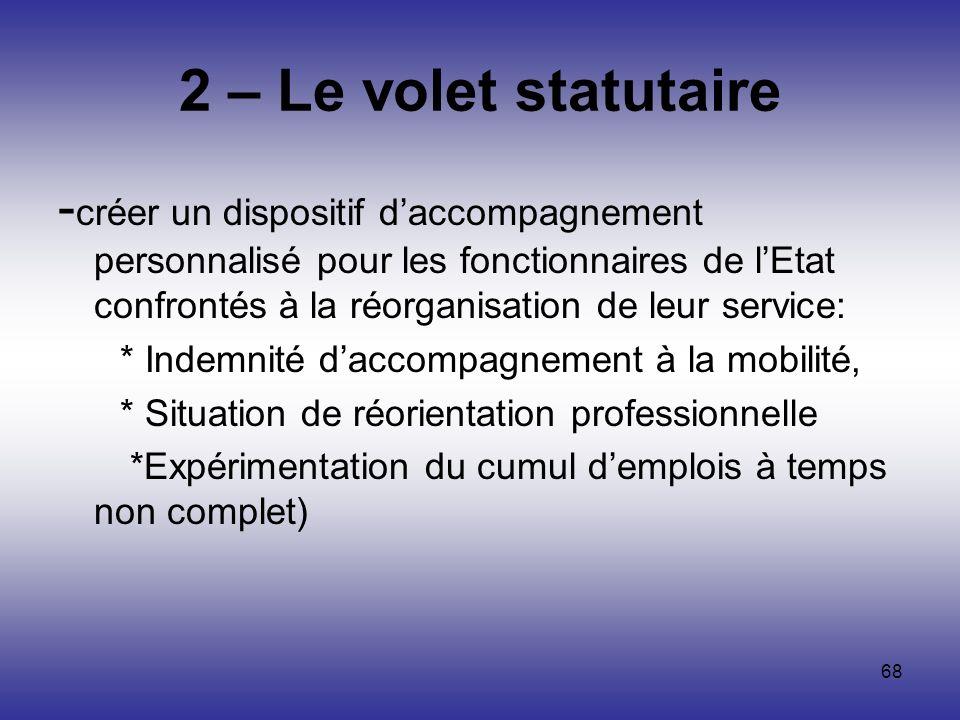 68 2 – Le volet statutaire - créer un dispositif daccompagnement personnalisé pour les fonctionnaires de lEtat confrontés à la réorganisation de leur