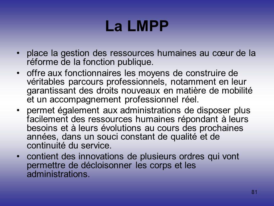 81 La LMPP place la gestion des ressources humaines au cœur de la réforme de la fonction publique. offre aux fonctionnaires les moyens de construire d