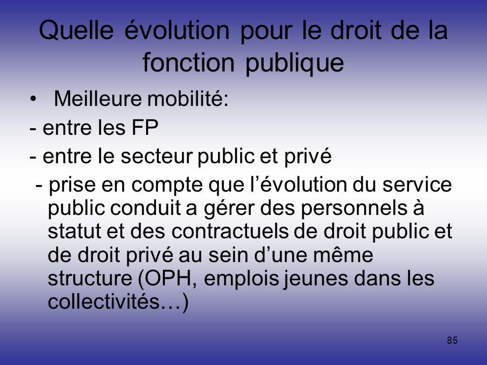 85 Quelle évolution pour le droit de la fonction publique Meilleure mobilité: - entre les FP - entre le secteur public et privé - prise en compte que