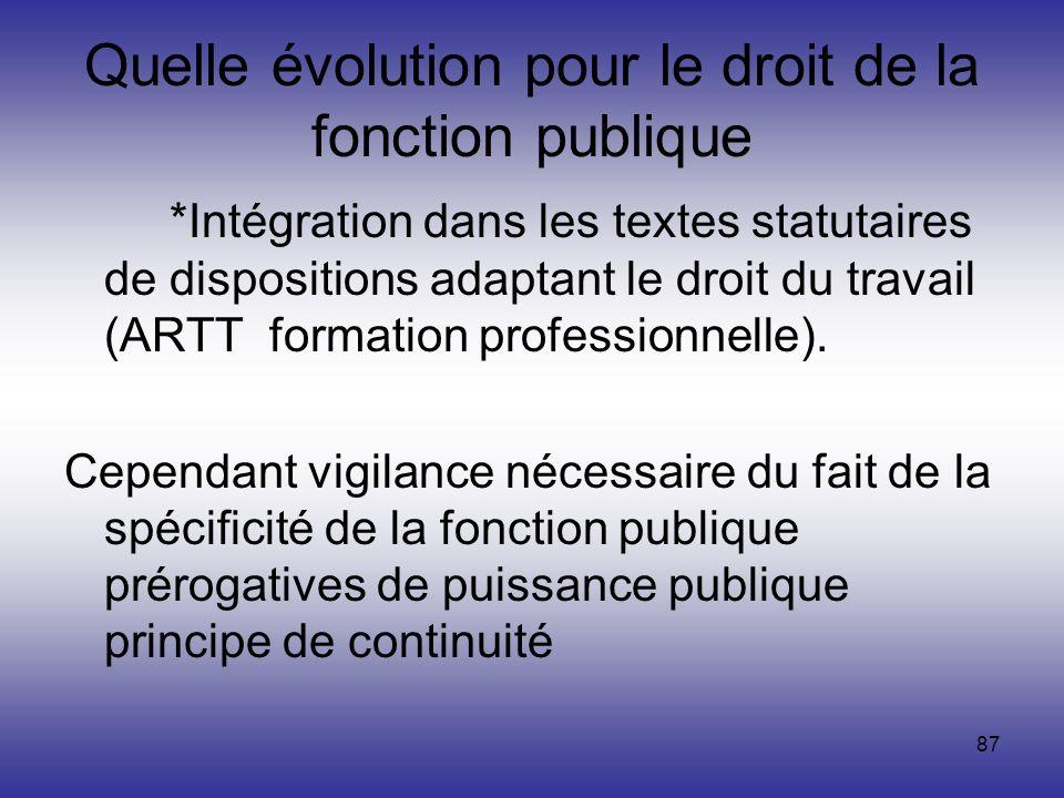 87 Quelle évolution pour le droit de la fonction publique *Intégration dans les textes statutaires de dispositions adaptant le droit du travail (ARTT