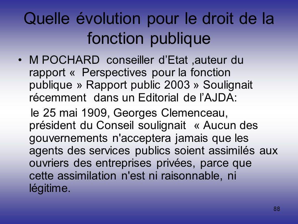 88 Quelle évolution pour le droit de la fonction publique M POCHARD conseiller dEtat,auteur du rapport « Perspectives pour la fonction publique » Rapp
