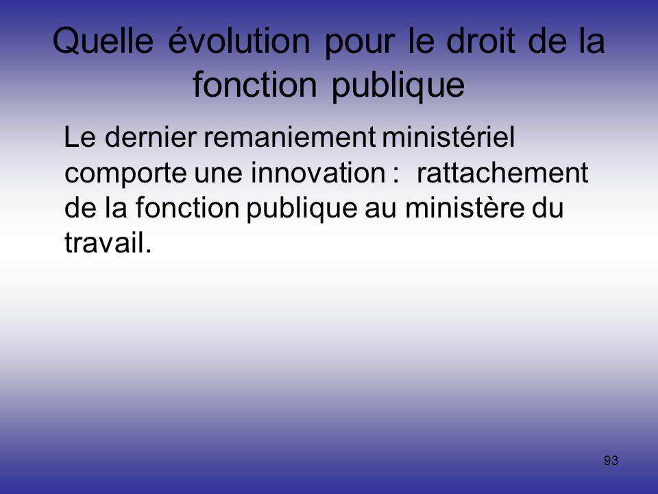 93 Quelle évolution pour le droit de la fonction publique Le dernier remaniement ministériel comporte une innovation : rattachement de la fonction pub
