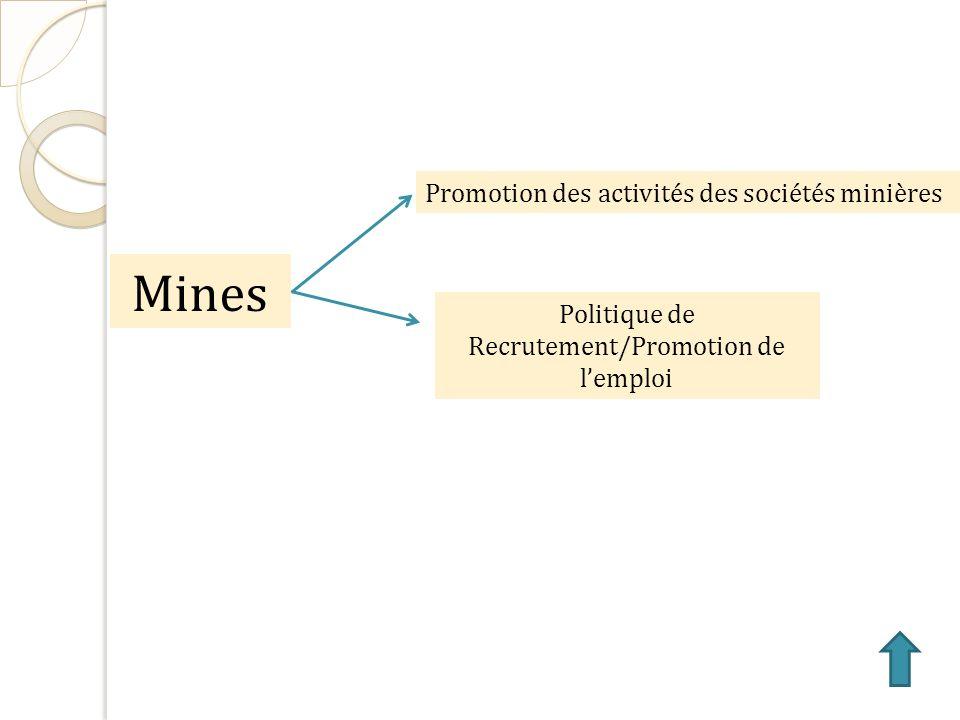 Mines Promotion des activités des sociétés minières Politique de Recrutement/Promotion de lemploi