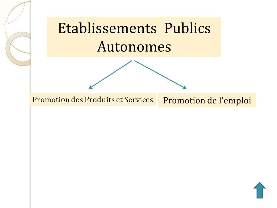 Etablissements Publics Autonomes Promotion de lemploi Promotion des Produits et Services