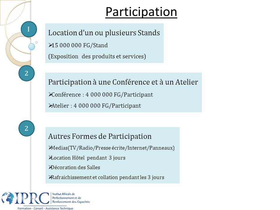 Participation I Location dun ou plusieurs Stands 15 000 000 FG/Stand (Exposition des produits et services) 2 Autres Formes de Participation Medias(TV/