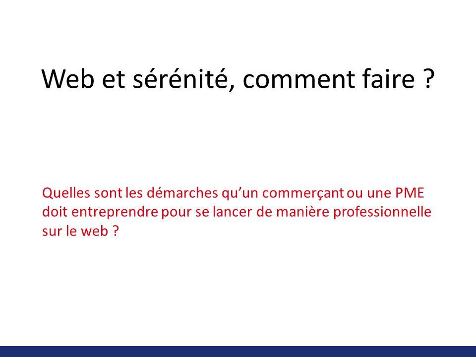 Web et sérénité, comment faire ? Quelles sont les démarches quun commerçant ou une PME doit entreprendre pour se lancer de manière professionnelle sur