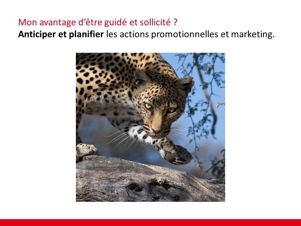 Mon avantage dêtre guidé et sollicité ? Anticiper et planifier les actions promotionnelles et marketing.