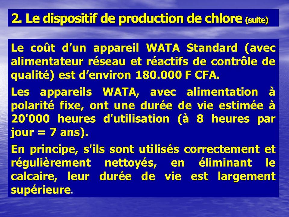 Le coût dun appareil WATA Standard (avec alimentateur réseau et réactifs de contrôle de qualité) est denviron 180.000 F CFA. Les appareils WATA, avec