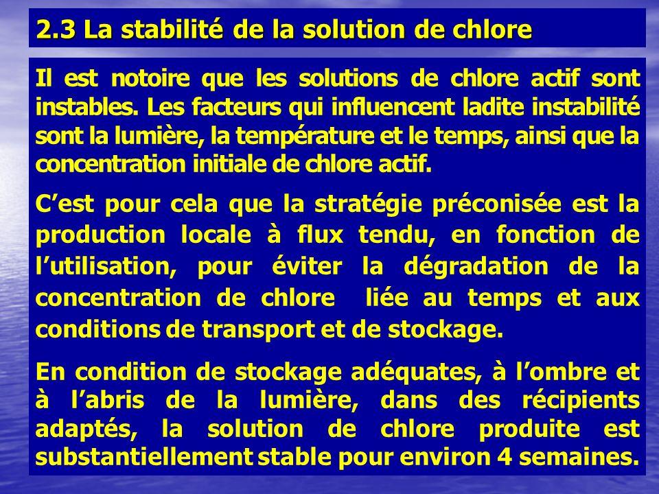 Il est notoire que les solutions de chlore actif sont instables. Les facteurs qui influencent ladite instabilité sont la lumière, la température et le