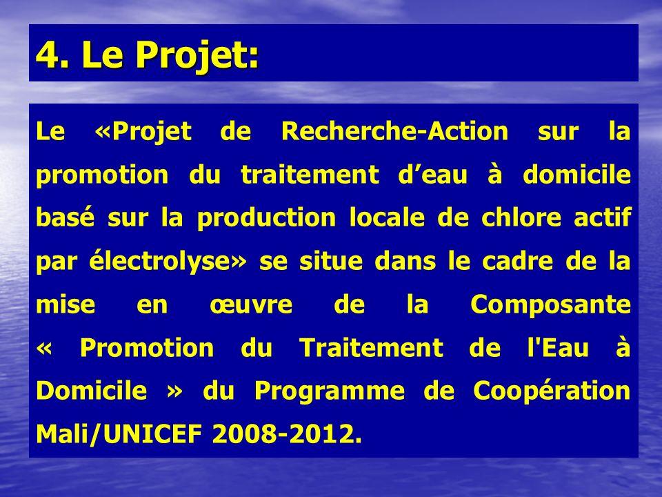 Le «Projet de Recherche-Action sur la promotion du traitement deau à domicile basé sur la production locale de chlore actif par électrolyse» se situe