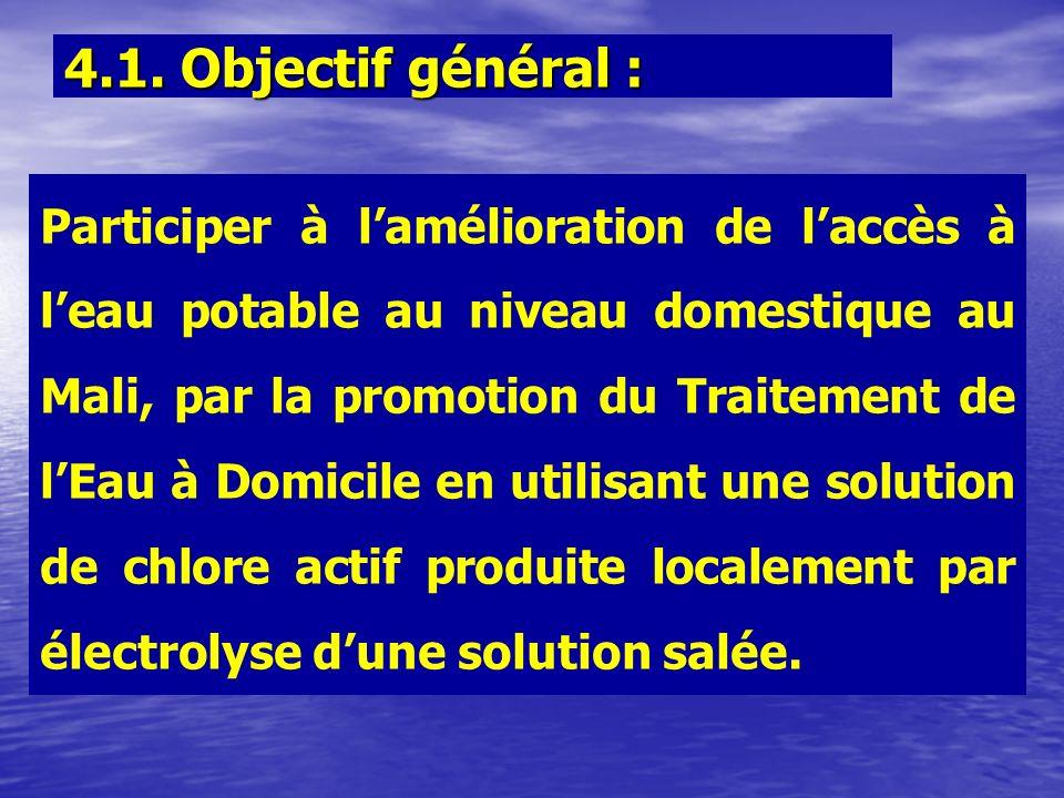 Participer à lamélioration de laccès à leau potable au niveau domestique au Mali, par la promotion du Traitement de lEau à Domicile en utilisant une s