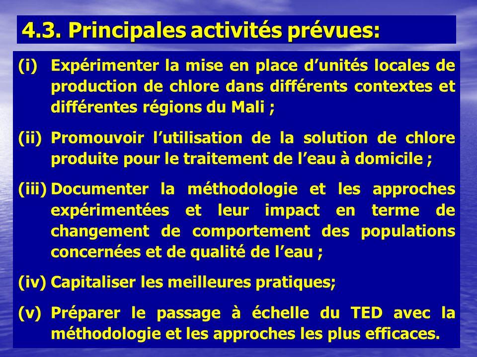 (i)Expérimenter la mise en place dunités locales de production de chlore dans différents contextes et différentes régions du Mali ; (ii)Promouvoir lut