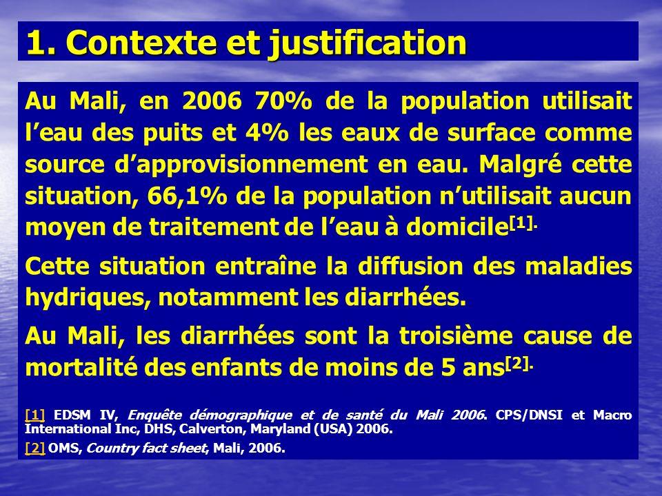 Au Mali, en 2006 70% de la population utilisait leau des puits et 4% les eaux de surface comme source dapprovisionnement en eau. Malgré cette situatio