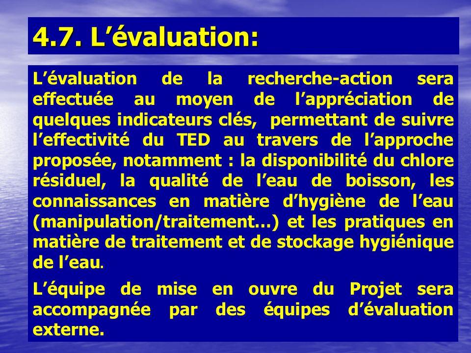 4.7. Lévaluation: Lévaluation de la recherche-action sera effectuée au moyen de lappréciation de quelques indicateurs clés, permettant de suivre leffe