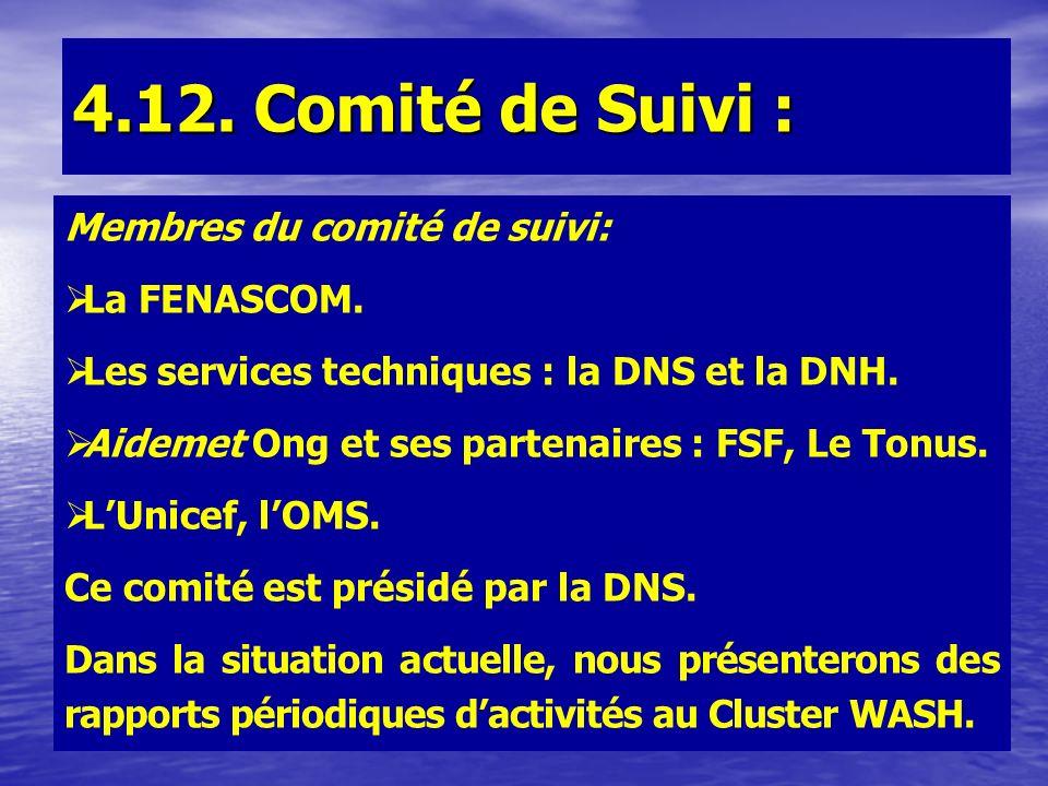 4.12. Comité de Suivi : Membres du comité de suivi: La FENASCOM. Les services techniques : la DNS et la DNH. Aidemet Ong et ses partenaires : FSF, Le
