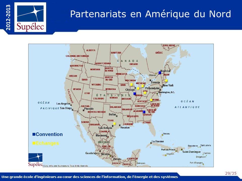 Une grande école d ingénieurs au cœur des sciences de l information, de l énergie et des systèmes 2012-2013 /35 Partenariats en Amérique du Nord 29