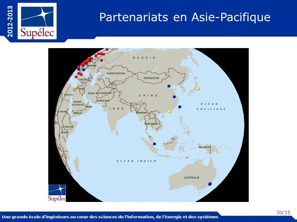 Une grande école d ingénieurs au cœur des sciences de l information, de l énergie et des systèmes 2012-2013 /35 Partenariats en Asie-Pacifique 30