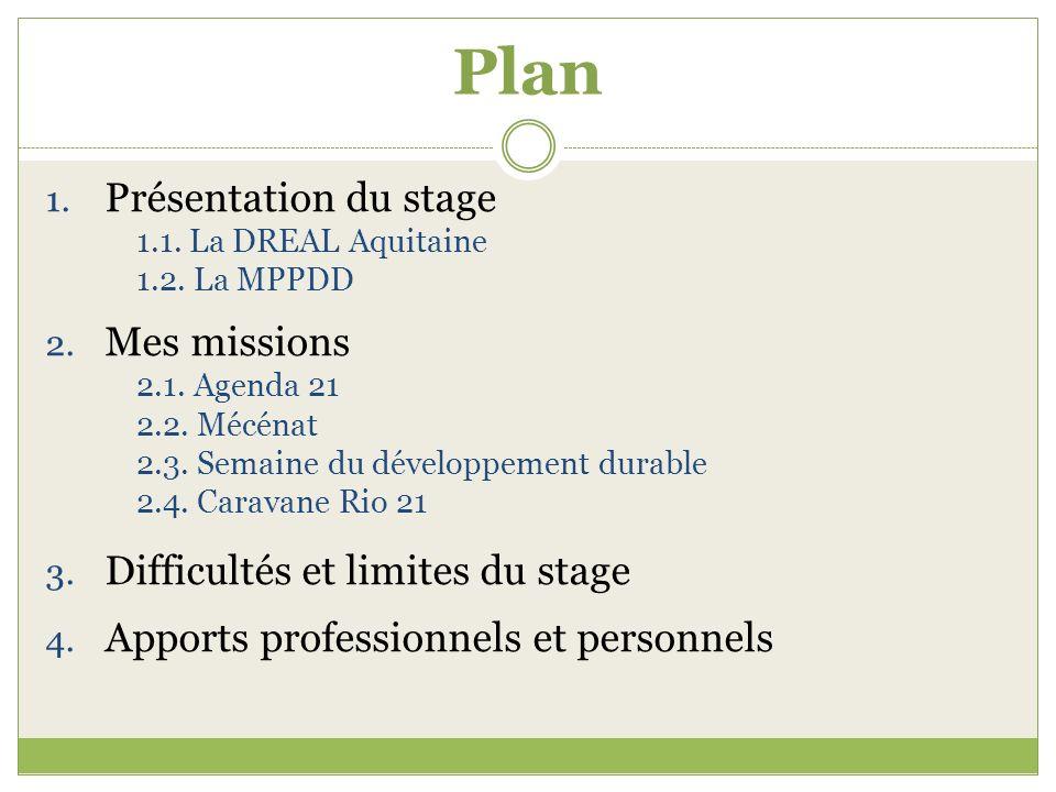 Plan 1. Présentation du stage 1.1. La DREAL Aquitaine 1.2. La MPPDD 2. Mes missions 2.1. Agenda 21 2.2. Mécénat 2.3. Semaine du développement durable