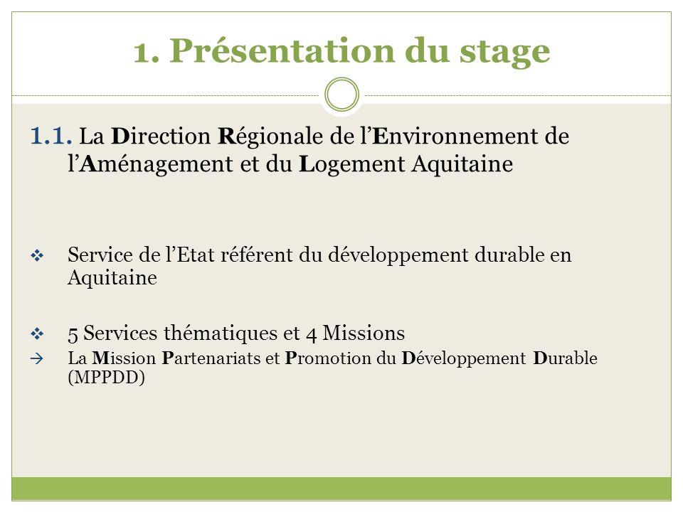 1. Présentation du stage 1.1. La Direction Régionale de lEnvironnement de lAménagement et du Logement Aquitaine Service de lEtat référent du développe