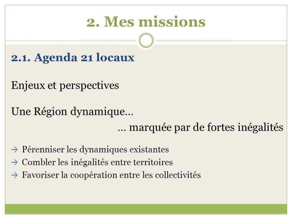 2. Mes missions 2.1. Agenda 21 locaux Enjeux et perspectives Une Région dynamique… … marquée par de fortes inégalités Pérenniser les dynamiques exista