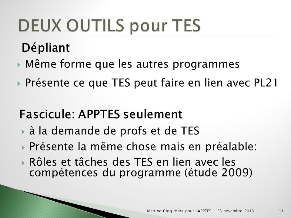 Même forme que les autres programmes Présente ce que TES peut faire en lien avec PL21 Dépliant Fascicule: APPTES seulement à la demande de profs et de TES Présente la même chose mais en préalable: Rôles et tâches des TES en lien avec les compétences du programme (étude 2009) 23 novembre 2013 Martine Cinq-Mars pour l APPTES11