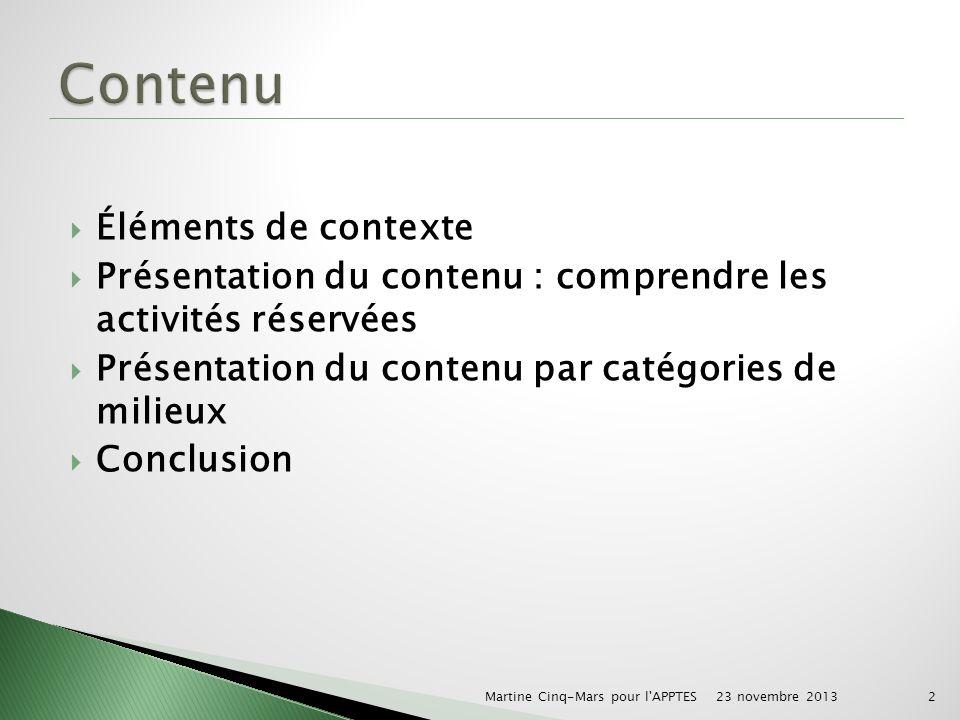 Éléments de contexte Présentation du contenu : comprendre les activités réservées Présentation du contenu par catégories de milieux Conclusion 23 novembre 2013 Martine Cinq-Mars pour l APPTES2