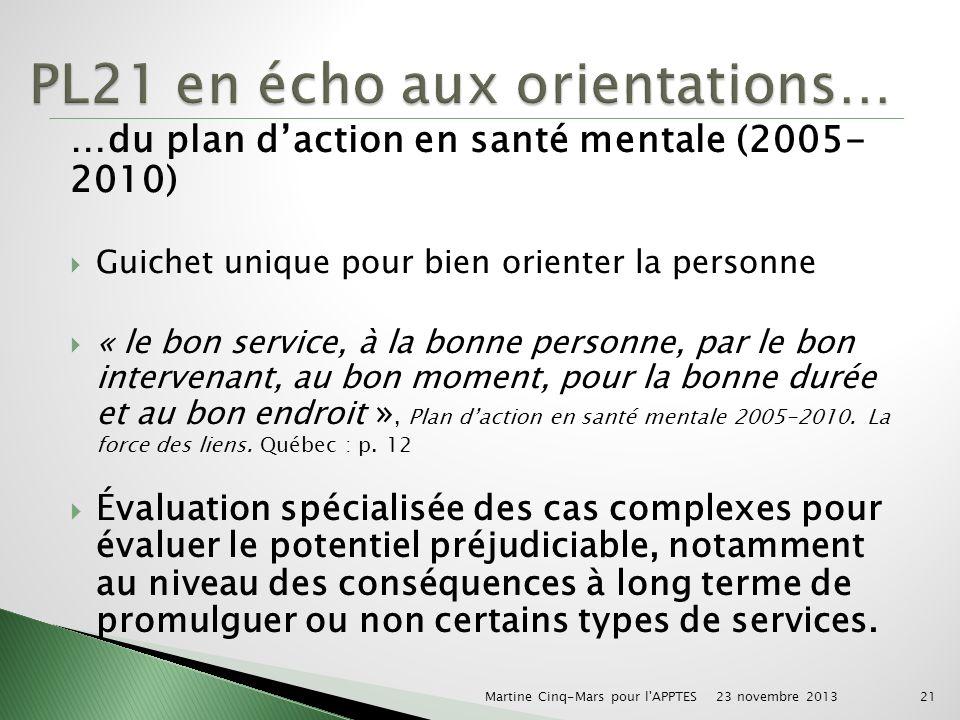 …du plan daction en santé mentale (2005- 2010) Guichet unique pour bien orienter la personne « le bon service, à la bonne personne, par le bon intervenant, au bon moment, pour la bonne durée et au bon endroit », Plan daction en santé mentale 2005-2010.