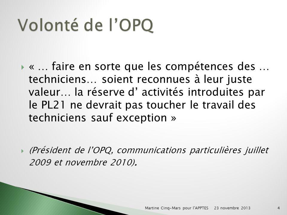 « … faire en sorte que les compétences des … techniciens… soient reconnues à leur juste valeur… la réserve d activités introduites par le PL21 ne devrait pas toucher le travail des techniciens sauf exception » (Président de lOPQ, communications particulières juillet 2009 et novembre 2010).