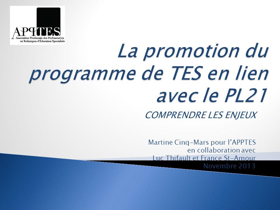 COMPRENDRE LES ENJEUX Martine Cinq-Mars pour lAPPTES en collaboration avec Luc Thifault et France St-Amour Novembre 2013