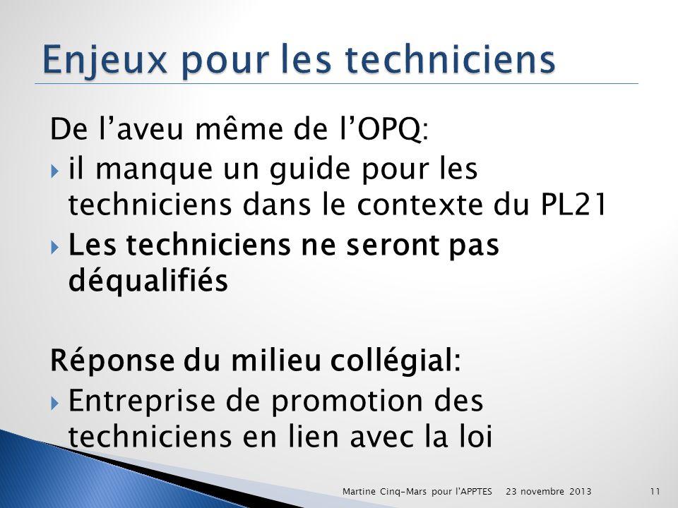 De laveu même de lOPQ: il manque un guide pour les techniciens dans le contexte du PL21 Les techniciens ne seront pas déqualifiés Réponse du milieu co