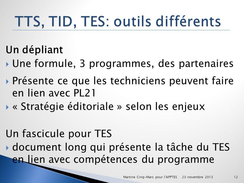 Un dépliant Une formule, 3 programmes, des partenaires Présente ce que les techniciens peuvent faire en lien avec PL21 « Stratégie éditoriale » selon