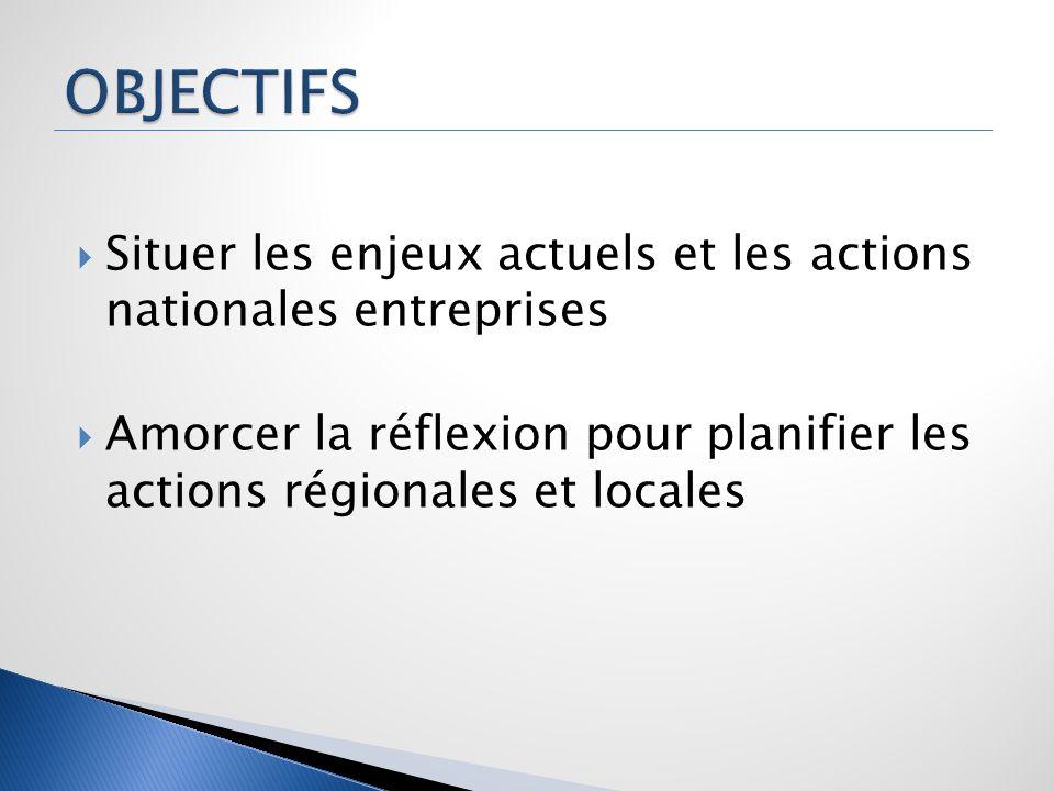 Situer les enjeux actuels et les actions nationales entreprises Amorcer la réflexion pour planifier les actions régionales et locales