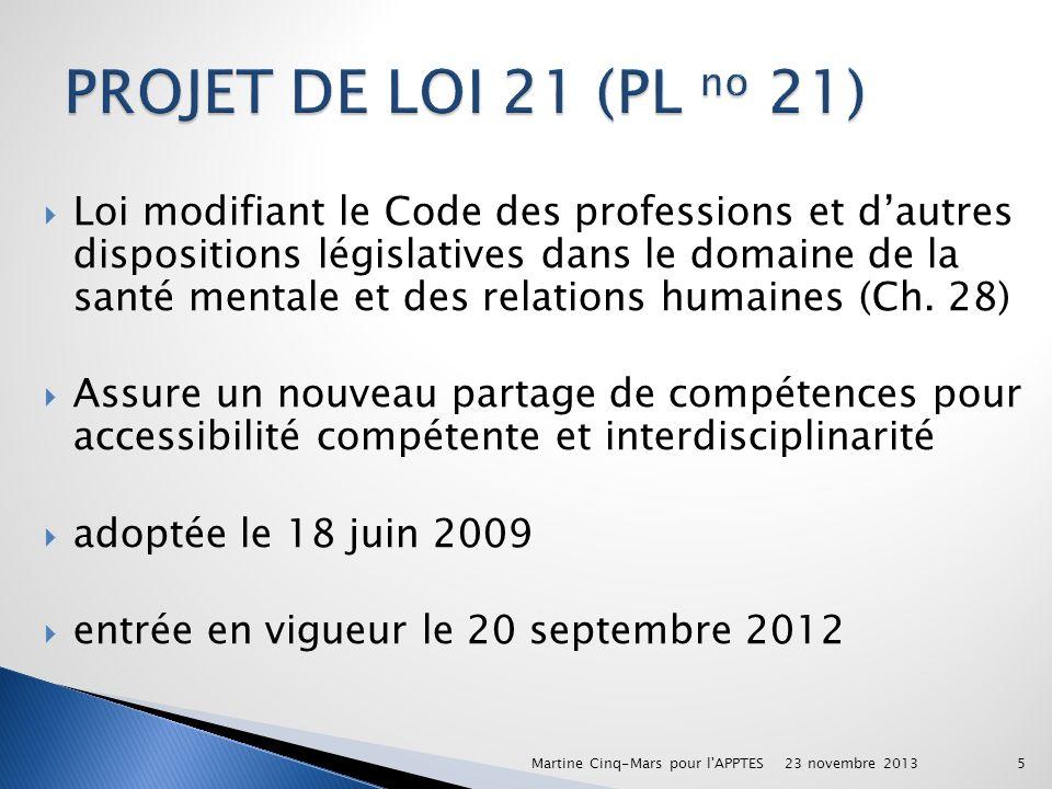 Loi modifiant le Code des professions et dautres dispositions législatives dans le domaine de la santé mentale et des relations humaines (Ch. 28) Assu