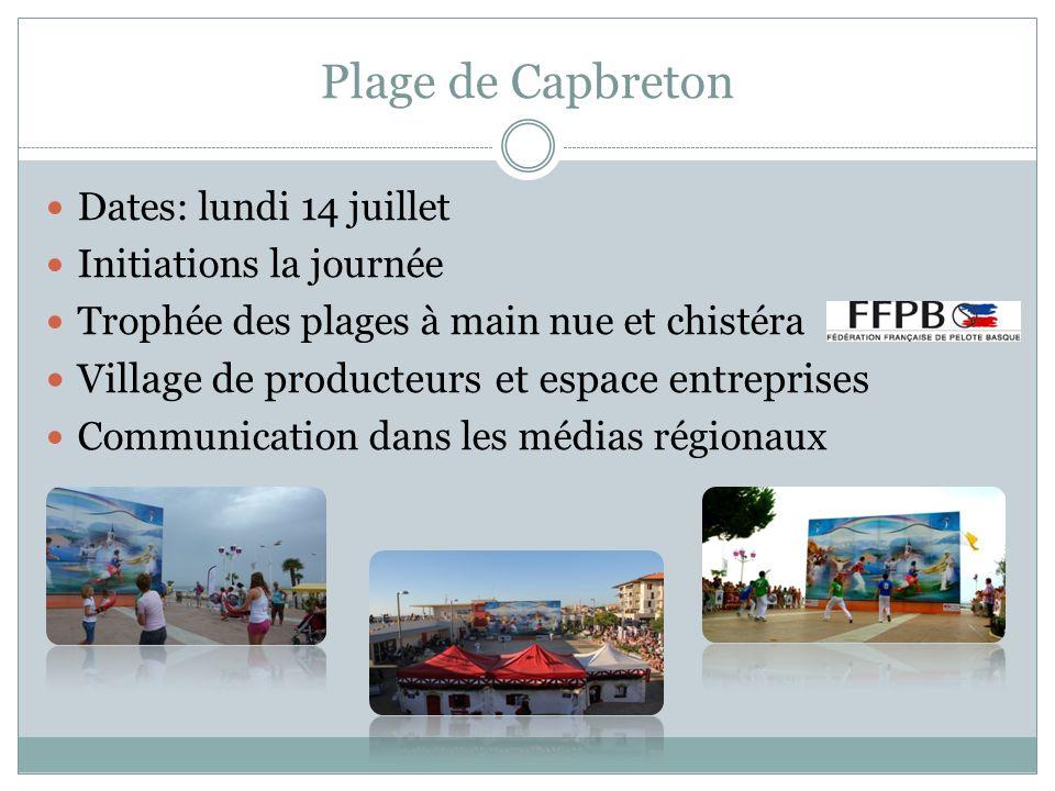 Plage de Capbreton Dates: lundi 14 juillet Initiations la journée Trophée des plages à main nue et chistéra Village de producteurs et espace entrepris