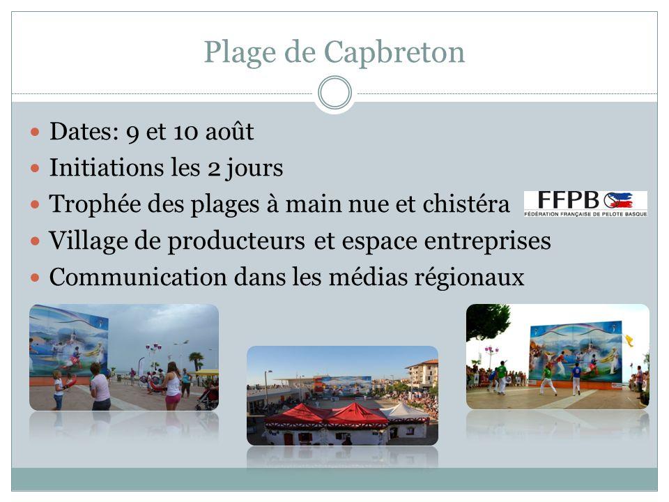 Plage de Capbreton Dates: 9 et 10 août Initiations les 2 jours Trophée des plages à main nue et chistéra Village de producteurs et espace entreprises