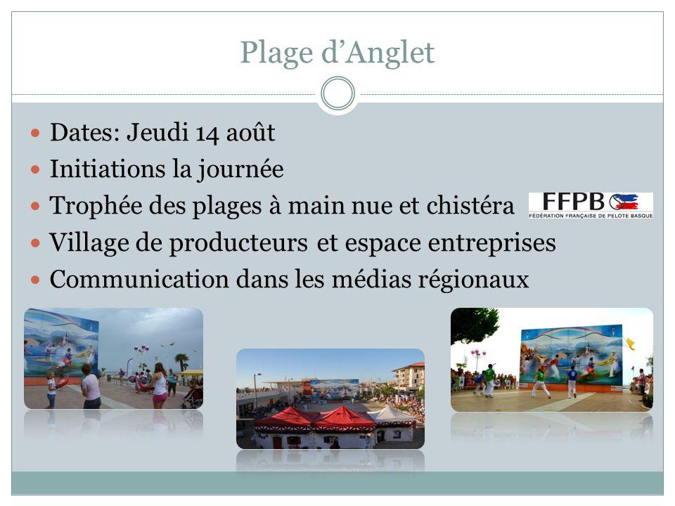 Plage dAnglet Dates: Jeudi 14 août Initiations la journée Trophée des plages à main nue et chistéra Village de producteurs et espace entreprises Commu