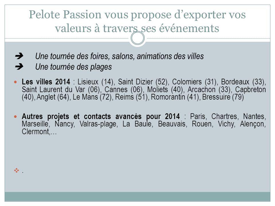 Une tournée des foires, salons, animations des villes Une tournée des plages Les villes 2014 : Lisieux (14), Saint Dizier (52), Colomiers (31), Bordea