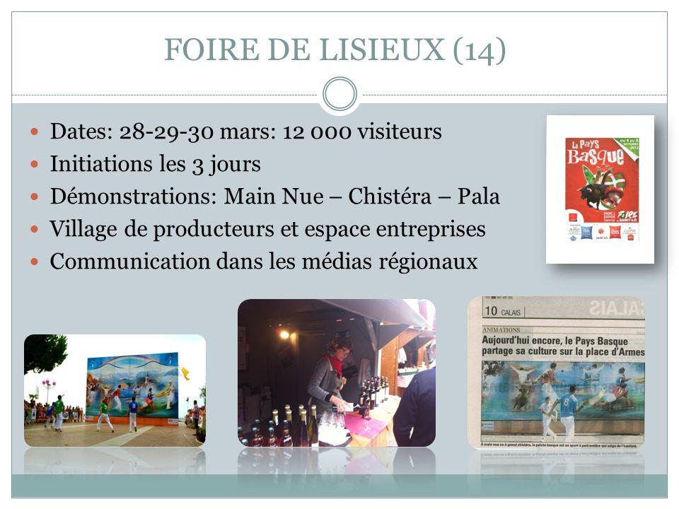 FOIRE DE LISIEUX (14) Dates: 28-29-30 mars: 12 000 visiteurs Initiations les 3 jours Démonstrations: Main Nue – Chistéra – Pala Village de producteurs