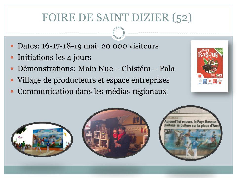 FOIRE DE SAINT DIZIER (52) Dates: 16-17-18-19 mai: 20 000 visiteurs Initiations les 4 jours Démonstrations: Main Nue – Chistéra – Pala Village de prod