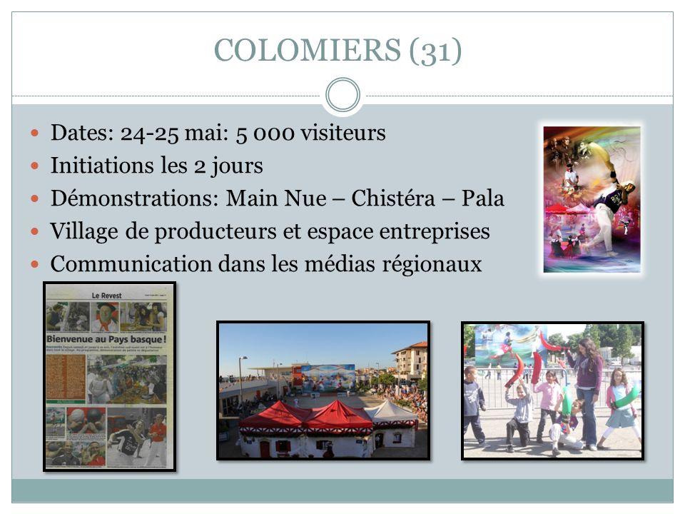 COLOMIERS (31) Dates: 24-25 mai: 5 000 visiteurs Initiations les 2 jours Démonstrations: Main Nue – Chistéra – Pala Village de producteurs et espace e