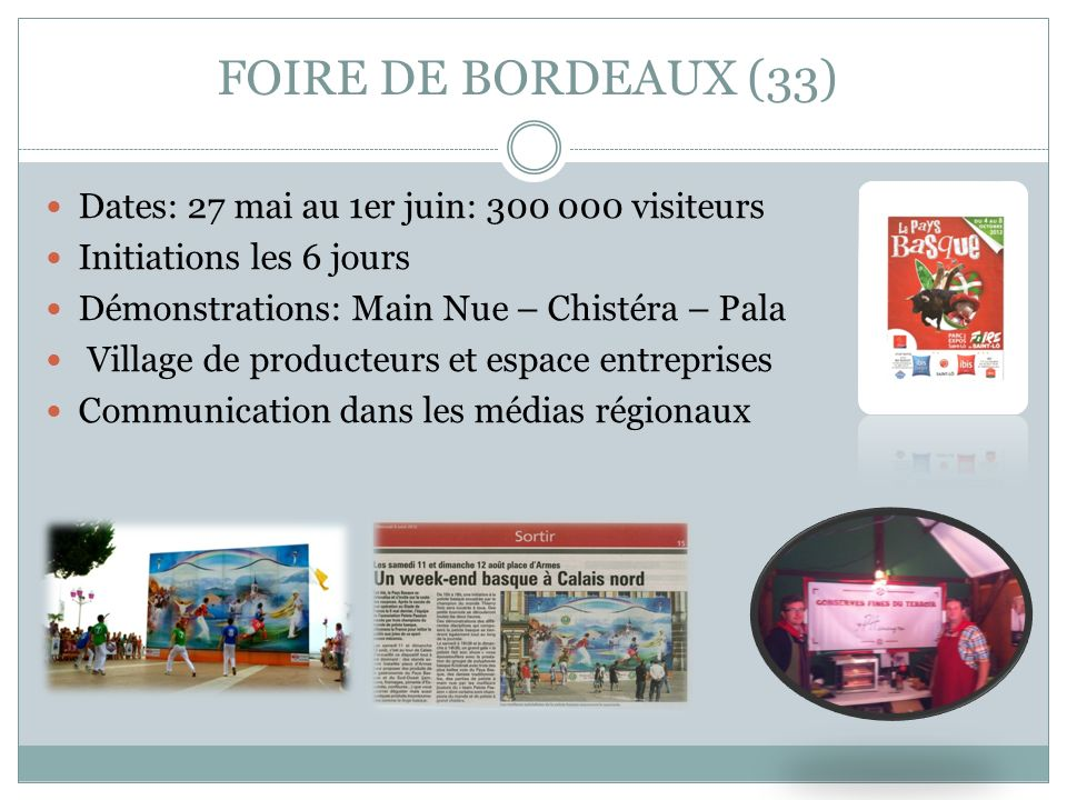 FOIRE DE BORDEAUX (33) Dates: 27 mai au 1er juin: 300 000 visiteurs Initiations les 6 jours Démonstrations: Main Nue – Chistéra – Pala Village de prod