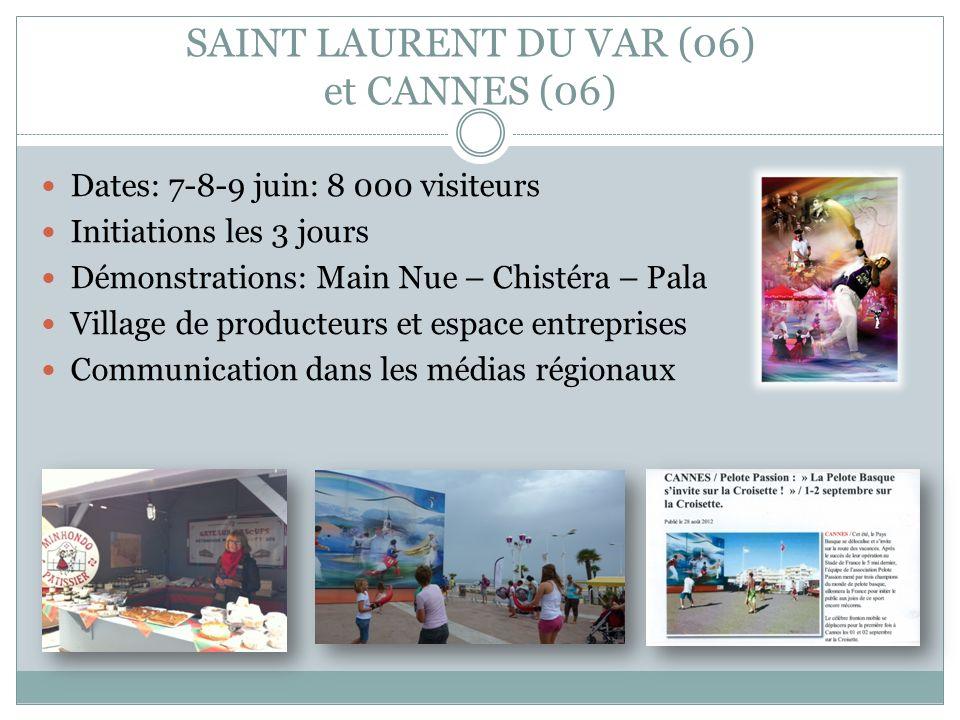 SAINT LAURENT DU VAR (06) et CANNES (06) Dates: 7-8-9 juin: 8 000 visiteurs Initiations les 3 jours Démonstrations: Main Nue – Chistéra – Pala Village