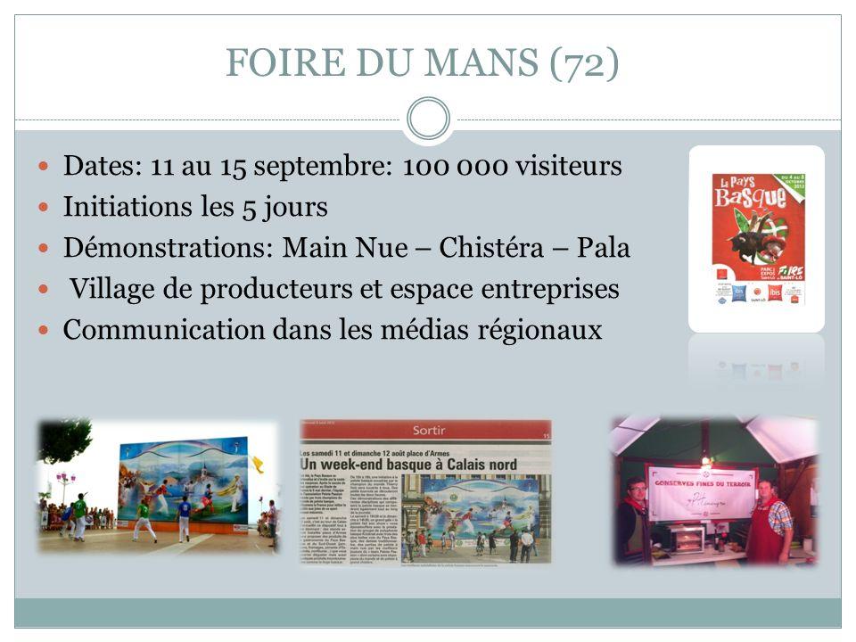 FOIRE DU MANS (72) Dates: 11 au 15 septembre: 100 000 visiteurs Initiations les 5 jours Démonstrations: Main Nue – Chistéra – Pala Village de producte