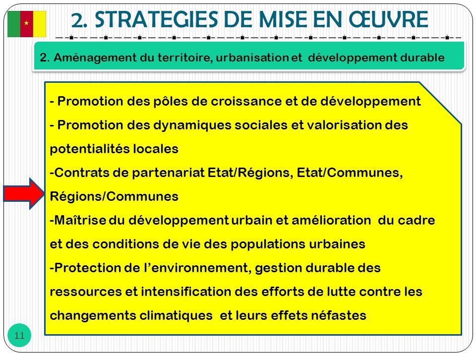 2. STRATEGIES DE MISE EN ŒUVRE 11 2. Aménagement du territoire, urbanisation et développement durable - Promotion des pôles de croissance et de dévelo