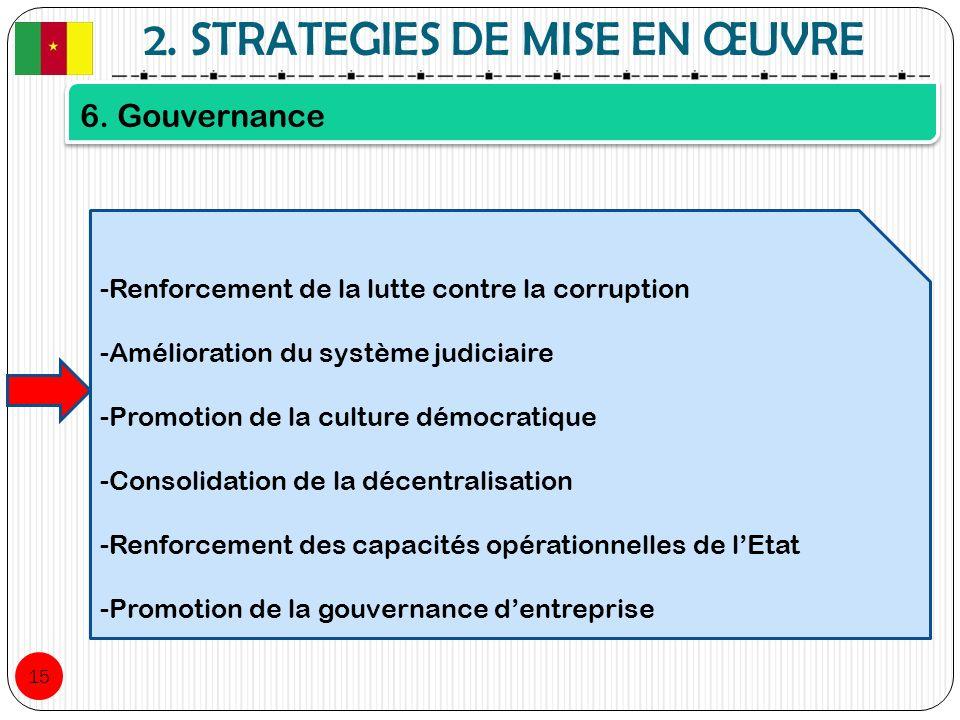2. STRATEGIES DE MISE EN ŒUVRE 15 6. Gouvernance -Renforcement de la lutte contre la corruption -Amélioration du système judiciaire -Promotion de la c